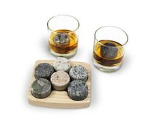 Sea Stones- Set - Full Sized Upcycled Granite Whiskey Chilling Stones- On the Rocks Set Includes 2 Monogrammable Tumblers with Wooden Presentation Tray - Made in the USA with Granite from NH