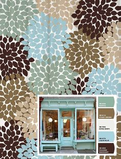 Shower Curtain Blue Brown Storefront by SwirledPeasDesigns on Etsy