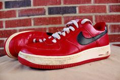 Womans Nike Air Force 1 Low Red Black White Sneakers Shoes 315115 603 Sz 8.5 #Nike #Sneakers