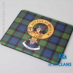Gunn Clan Crest and Tartan Mouse Mat. Free worldwide shipping available