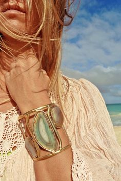Rock Agate Summer Jewelry, perfect beach attire. For MORE summer trends FOLLOW http://www.pinterest.com/happygolicky/summer-style-jewelry-clothing-swimsuits-accessorie/