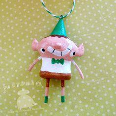 Ornament - Elroy the Elf - Original Christmas Paperclay Art Ornie