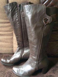 Italian-made leather ladies boots with heel size 37