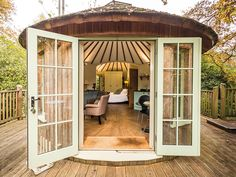 Minimoon Ideas: 5 of the Best Great British Getaways For Newlyweds - Browse our edit of the BEST destinations for miniature but majorly luxurious honeymoons on Wedding Ideas today! Canopy And Stars, Outdoor Spaces, Outdoor Decor, Great British, Amazing Destinations, Sustainable Living, French Doors, Glamping, Living Area