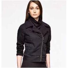 Ruff Hewn Grey Black Denim Moto Jacket