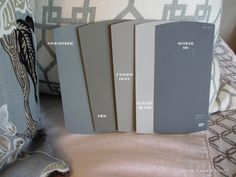 Behr Atmospheric, Behr Pier, Behr Fashion Gray, Behr Classic Silver, Behr Antique Tin