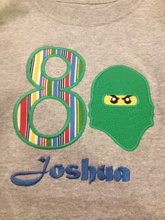 Lego Ninjago Birthday applique shirt by JamieSewCute on Etsy, $19.99