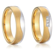 titanium rings for women and men jewelry wedding band pair set gold color jewellery for lovers