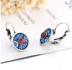 Vintage Brincos Crystal Rhinestone Blue Sapphire Clip On Earrings For Women Fashion Charm Statement Clip Earrings