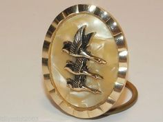 Vintage 1950's 3 Flying Ducks or Geese Pearlised Scarf Clip Ring Clasp | eBay