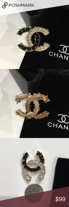CHANEL Brooch Be among the first in the world to wear this stunning CHANEL style brooch with gold color edges. Elegant size.   From daily wear to entertaining and weddings. Can be used on your jacket, sweater, hat, belt, bag, scarf, etc.   Very glamorous and sophisticated!    Nice gift for yourself or someone! This CHANEL style pin brooch, brand new, and unused. And in perfect condition as all CHANEL style items. Jewelry Brooches