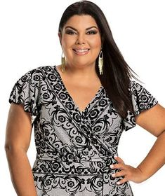 Fabiana Karla by Hiroshima - Vestido em jersey acetinado Moda Plus Size, Hiroshima, Plus Size Fashion, Blouse, Clothes, Tops, Women, Stylish Dresses, Middle Age Hair