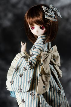 Tan Stripe Fancy Wa Loli Kimono for Kid Delf MSD and by keelyvh