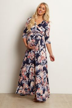 98a36ce1f3693 Petite Navy Blue Floral Wrap Dress Fitted Maternity Dress