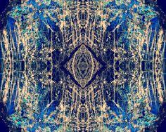 Labradorite Mineral Photograph 8x10 psychedelic kaleidoscope trippy pattern cobalt blue diamond vibrant colorful wall art decor cream