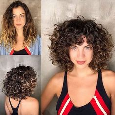 Short Layered Curly Hair, Curly Hair With Bangs, Curly Hair Cuts, Short Curly Hair, Short Hair Cuts, Curly Hair Styles, Fringe Hairstyles, Curly Bob Hairstyles, Hairstyles With Bangs
