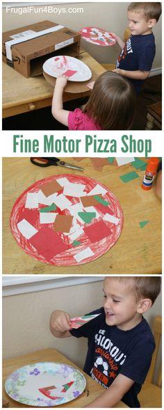 Pizza Shop Pretend Play Fine Motor Activity for Preschoolers