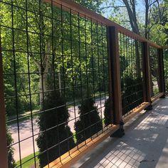Welded Mesh Level Rail Panels by Wild Hog Railing Hog Wire Fence, Metal Deck Railing, Deck Railing Design, Dog Fence, Fence Design, Wire Fence Panels, Deck Stairs, Cable Railing, Cedar Fence
