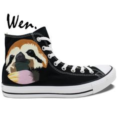 71.76$  Buy now - http://alioif.worldwells.pw/go.php?t=32657029363 - Wen Hand Painted Shoes Animal Sloth Boys Girls Christmas Gifts High Top Men Women's Canvas Sneakers