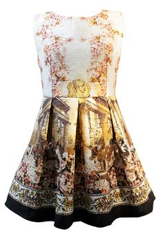 White Bleached Contrast Black Sleeveless Vintage Floral Dress
