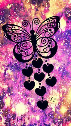 Butterfly Hearts Galaxy Wallpaper butterfly - All Animal PHOTOS Neon Wallpaper, Butterfly Wallpaper, Cute Wallpaper Backgrounds, Butterfly Art, Pretty Wallpapers, Disney Wallpaper, Vintage Butterfly, Sparkle Wallpaper, Vintage Backgrounds
