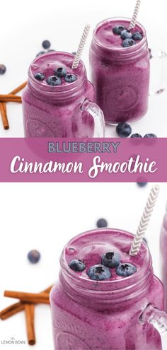 This creamy, protein-packed blueberry smoothie is scented with warm cinnamon and fragrant vanilla. Ideal for breakfast or a post-workout snack, it's the perfect on-the-go smoothie recipe to give you lasting energy all morning long. Baby Smoothies, Healthy Fruit Smoothies, Smoothies For Kids, Fruit Smoothie Recipes, Healthy Fruits, Post Workout Smoothie, Post Workout Snacks, Gluten Free Recipes For Breakfast, Free Breakfast