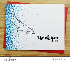 Thank You card with blue dots and feather outline stamp. The feather stamp and sentiments are from the Faithful Feather stamp set. www.altenew.com