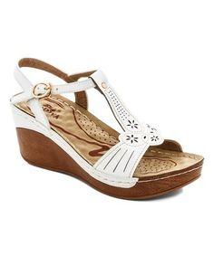White Cutout T-Strap Sandal