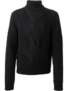 Carven: Black wool chunky cable knit sweater featuring a funnel neck, long sleeves and a ribbed hem and cuffs