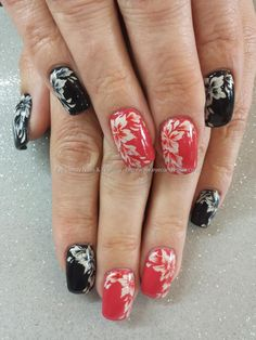 Black and coral gel polish with one stroke flower nail art