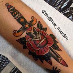 Matthew Houston old school rose and dagger tattoo