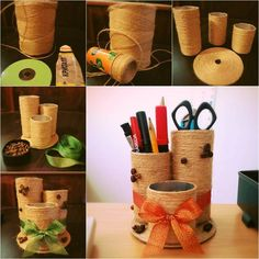 Make a nice and easy desktop organizer with some empty containers and yarn or sisal rope