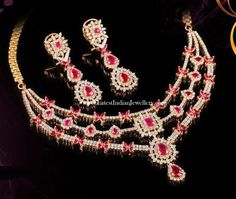 3 Step Diamond Ruby Necklace and Earrings