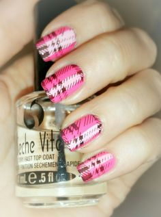 Stamped pink plaid nails