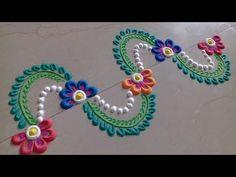 ***Easy border rangoli designs*** Rangoli Designs with colours Easy Rangoli Designs Diwali, Free Hand Rangoli Design, Rangoli Ideas, Colorful Rangoli Designs, Diwali Rangoli, Beautiful Rangoli Designs, Simple Rangoli, Diwali Diy, Diwali Craft