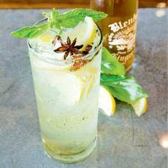 Changes In Latitude Cocktail.                                  1 scoop (1.5 oz.) lemon sorbet 3 basil leaves, 2 minced and 1 reserved for garnish 1.5 oz. Bacardi Superior 1/4 oz. St. Germain Elderflower liqueur 1 or 2 star anise pods 1 oz. Blenheim Ginger Ale, Old #3 Red Cap recommended 1 lemon wedge, for garnish