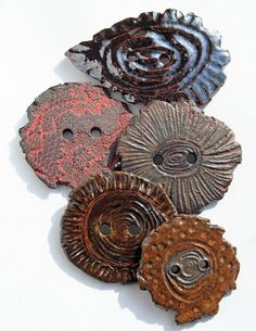 Handmade Ceramic Buttons SET OF 5 by LisaPetersArt on Etsy