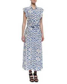 6caa5284ec0 Printed Flutter-Sleeve Maxi Dress by Rebecca Taylor at Bergdorf Goodman.