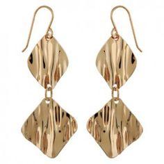 Boucles d'oreilles pendantes en plaqué or 1 carré et 1 losange froissés suspendus et fermoir crochet