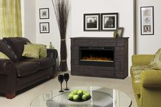 The Markus Electric Fireplace Media Console in Tamarind - offers a uniquely bold, style with large, linear fireplace Dimplex Fireplace, Dimplex Electric Fireplace, Fireplace Console, Linear Fireplace, Fireplace Update, Freestanding Fireplace, Concrete Fireplace, Fireplace Remodel, Fireplace Design
