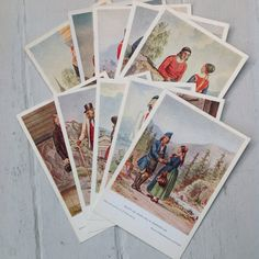 Vintage Norwegian costume postcards  Set of 10 by MaxAndCoPost, $8.00