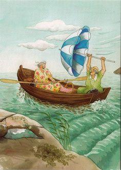 inge look - old ladies sailing with white and blue parasol        jaybeepostcards, via Flickr