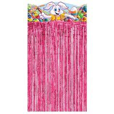 Roze paas  deurgordijn.  Paasdecoratie en paasversiering bij Fun en Feest. Pasen, niet zonder ons!