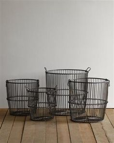 """Set of 4 iron nesting baskets with handles. Great for firewood . DIMENSIONS: 12"""", 14"""", 16' 18"""" Diameter"""