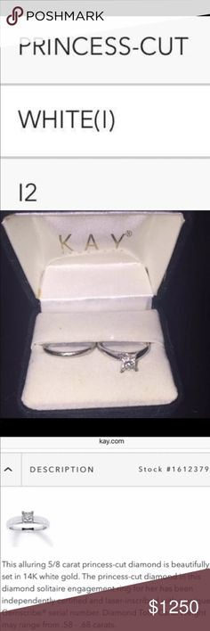 5/8 Carat Princess Cut Solitaire Engagement Ring 5/8 Carat Princess Cut Solitaire Diamond Engagement Ring with wedding band. Firm on price. Cross posted. Kay Jewelers Jewelry Rings