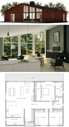Small House Plan–I love this, but would change the bathrooms. The master bath I… Small House Plan–I love this, but would change the bathrooms. Sims House, Tiny House Plans, Small Modern House Plans, House Layouts, Design Case, Modern Architecture, Residential Architecture, Building A House, Building Plans