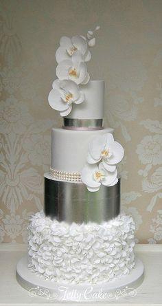 Silver, Ruffles Orchids Wedding Cake - Wedding n Bridal n Baby shower Cakes ,Ideas n Photos - Wedding Cakes