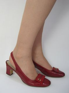 Vintage 1960s Oxblood Red Patent Leather Mod Sling Back Heels from Virtual Vintage Clothing