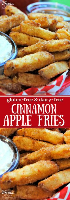 Gluten-Free Cinnamon Apple Fries are a super easy way to make a special treat. Sweet and crisp apples lightly fried and covered in cinnamon and sugar.