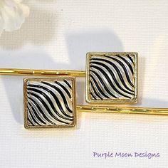 SALE - Silver Black Bobby Pin, Zebra Stripe Pin, Beaded Bobbies, Bobby Pins for Women, Hair Accessory